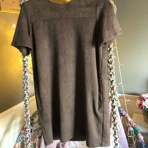 Chloe K Brown Suede Tshirt Dress